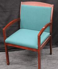 Aqua blue chair.