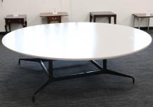 A white conference table.
